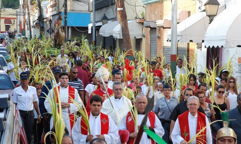 Domingo de Ramos procesión católica.