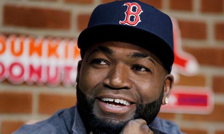 David Ortiz entrevista con los medios de Boston.