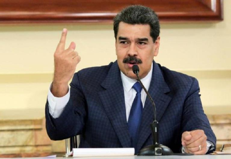 Presidente Nicolás Maduro durante una reunión en el Palacio de Miraflores en Caracas, Venezuela.