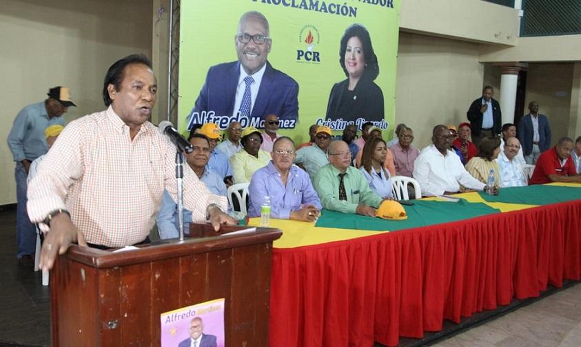 Zorrilla Ozuna presidente PCR apoya Alfredo Martínez.