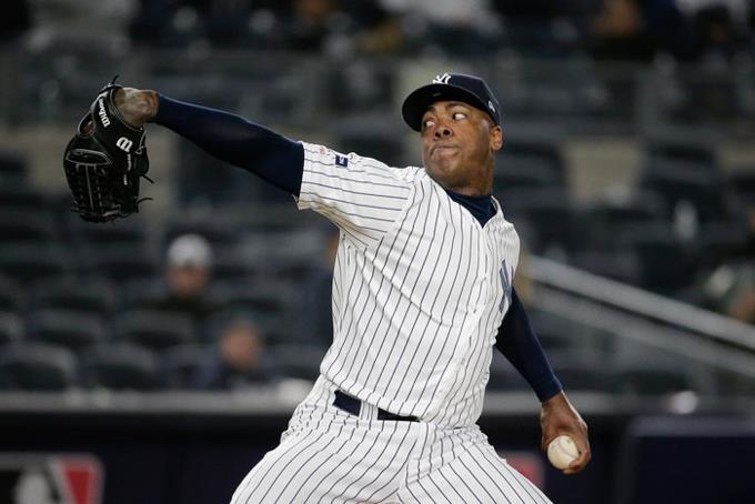 Aroldis Chapman, el intimidante cerrador de los Yankees de Nueva York.
