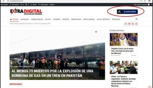 Imagen de la portada del diario www.eXtradigital.com.do donde se visualiza la sección Clasificados.