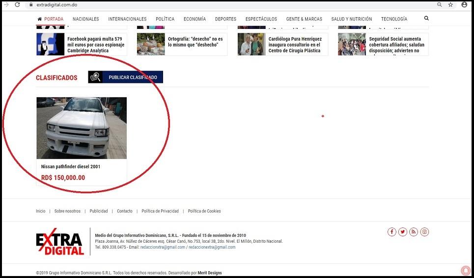 Imagen de publicación en los clasificados del diario www.eXtradigital.com.do.