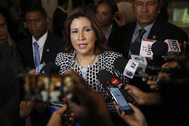 Margarita Cedeño en rueda de prensa.(Foto externa)