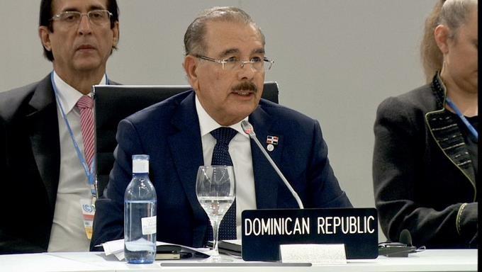 Presidente Danilo Medina en su discurso en la Cumbre Climática.(Foto externa)