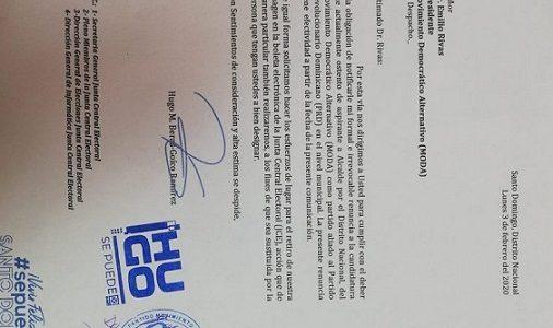 Carta enviada por Beras al Movimiento Democrático Alternativo (MODA) renunciado a la candidatura.