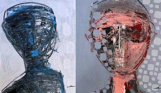 Obras que forman parte de la exhibición de Oscar Abreu.