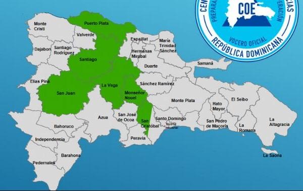 COE coloca en alerta verde para seis provincias por vaguada.