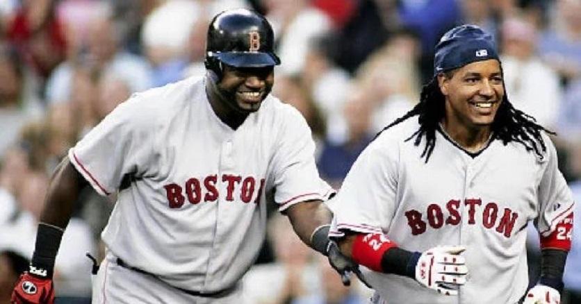Manny Ramírez y David Ortiz mientras jugaban en Boston. (Fuente: externa)