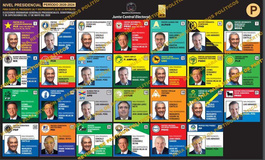 Boleta electoral presidencial elecciones 2020.