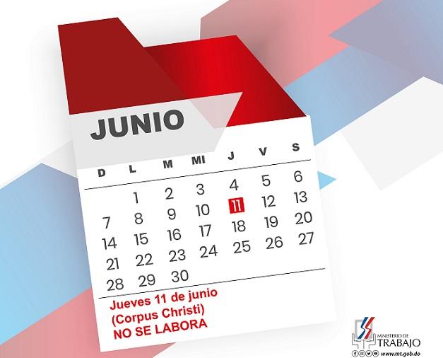 """Trabajo recuerda este jueves es feriado por el """"Día Corpus Christi"""""""