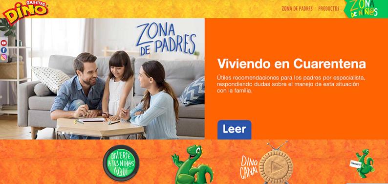 Galletas Dino presenta su página web.
