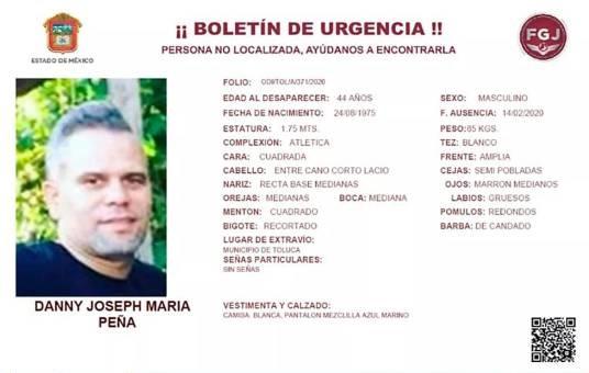 Dominicano Danny Joseph María Peña desaparecido en México.