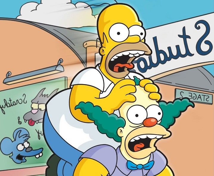 Homero y Krusty personajes de Los Simpson.