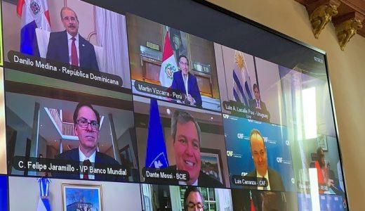 Jefes de Estado que participan en conferencia para buscar solución a efectos COVID-19.