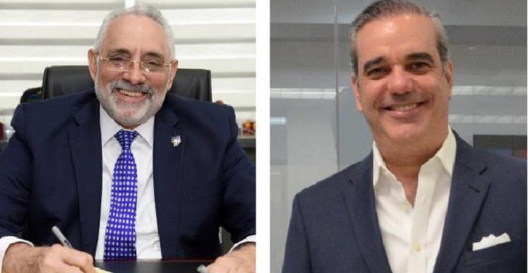 Vitelio Mejía, presidente de LIDOM, y Luis Abinader candidato a la presidencia por el PRM.