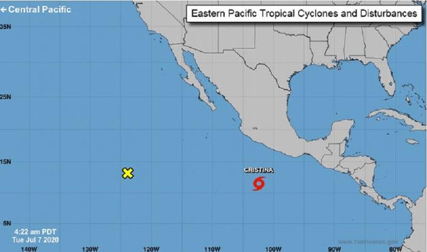 Cristina, la tercera tormenta tropical de la temporada del Pacífico.