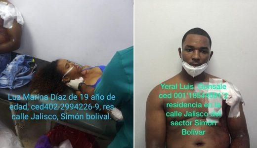 Luz María y Yeral, heridos en el barrio Simón Bolívar.
