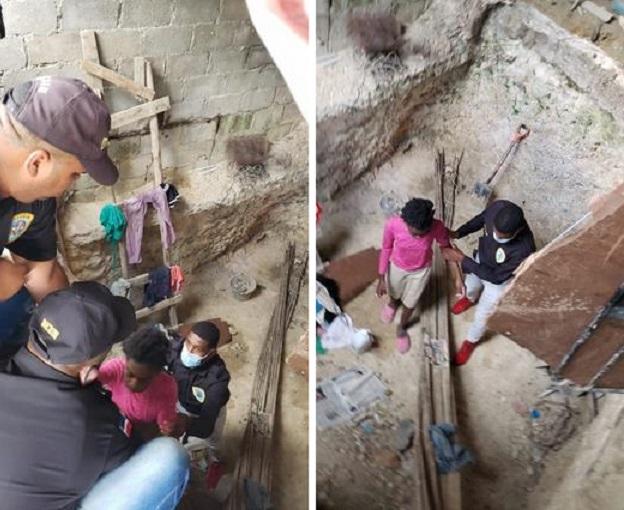 Momento en que las menores haitianas son rescatadas de cisterna. (Foto: Policía Nacional)