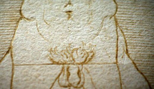 En el original, rara vez visto o filmado, se alcanzan a ver las hendiduras que hizo Da Vinci al apoyar el compás para hacer el círculo y el cuadrado.