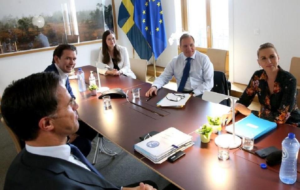 El presidente del Consejo Europeo, Charles Michel, reunido con otros mandatarios. (Foto de EFE)