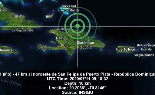 Sismo de 4,1 sacude Puerto Plata