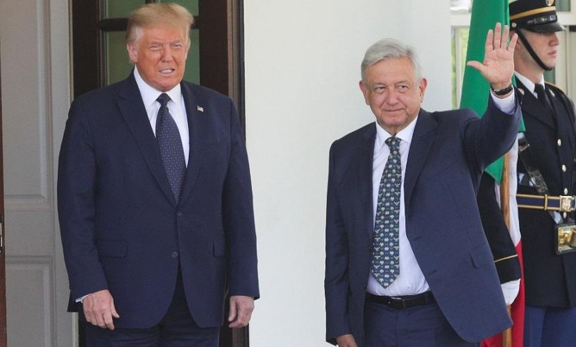 Donald Trump recibe a López Obrador.