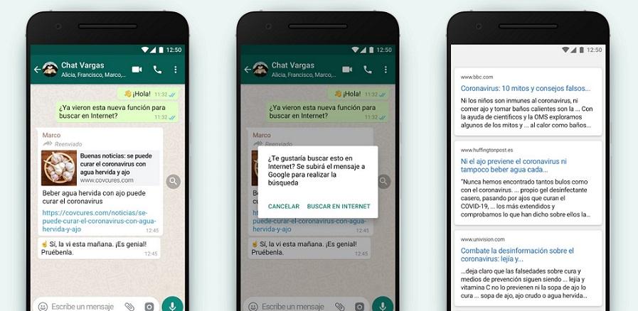 WhatsApp agrega búsqueda en internet.