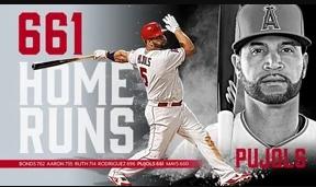 Pujols dispara jonrón 661 HR en su carrera