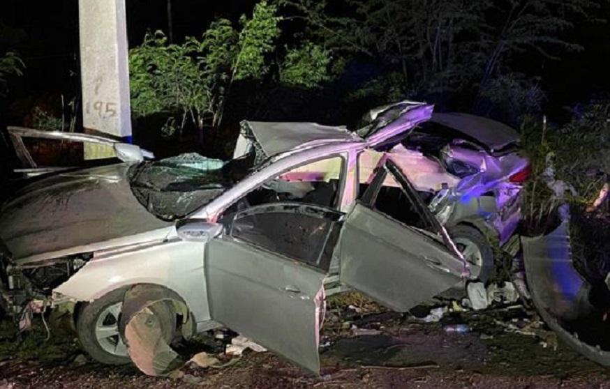 Accidente en que murieron 4 jóvenes en Baní.