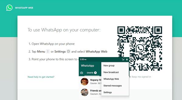 Vista de Whatsapp Web.